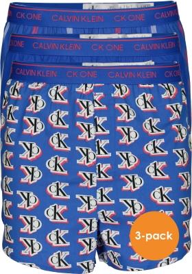 Calvin Klein wijde boxers (3-pack), slim fit, dessin, uni en gestreept kobalt blauw