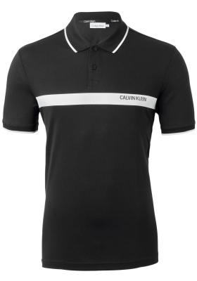 Calvin Klein bold stripe logo polo, zwart met wit