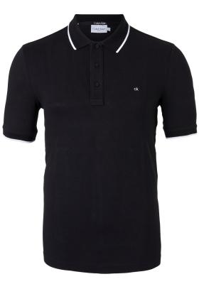 Calvin Klein Tipping Slim polo (stretch), zwart