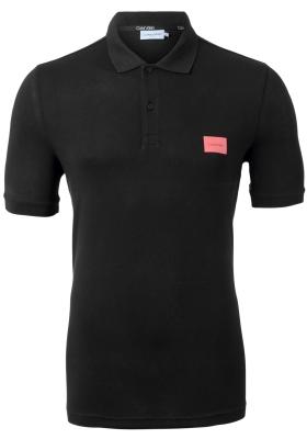 Calvin Klein Pique Badge Slim polo (stretch), zwart