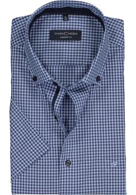 Casa Moda Comfort Fit overhemd, korte mouw, blauw geruit (contrast)
