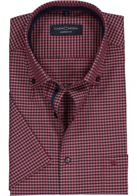 Casa Moda Comfort Fit overhemd, korte mouw, blauw met rood geruit (contrast)