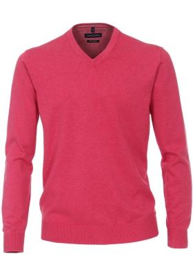 Casa Moda heren trui katoen, V-hals, donker roze