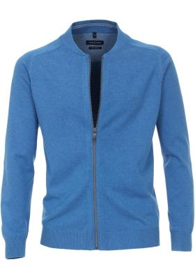 CASA MODA heren vest katoen, met rits, kobalt blauw