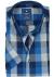 Redmond heren overhemd Regular Fit, korte mouw, blauw geruit (contrast)