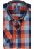 Redmond heren overhemd Regular Fit, korte mouw, oranje met blauw geruit (contrast)