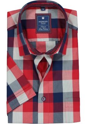 Redmond heren overhemd Regular Fit, korte mouw, rood met blauw geruit (contrast)