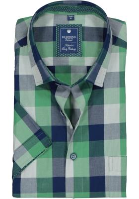 Redmond heren overhemd Regular Fit, korte mouw, groen met blauw geruit (contrast)