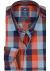 Redmond heren overhemd Regular Fit, oranje met blauw geruit (contrast)