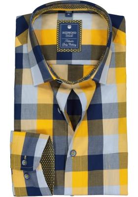 Redmond heren overhemd Regular Fit, geel met blauw geruit (contrast)