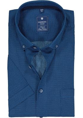 Redmond heren overhemd Regular Fit, korte mouw, blauw dessin