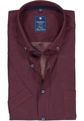 Redmond heren overhemd Regular Fit, korte mouw, rood met blauw dessin