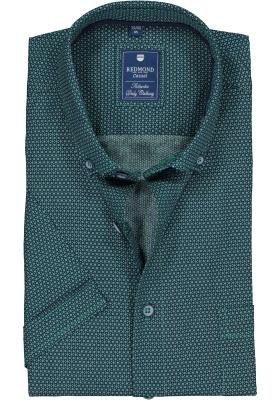 Redmond heren overhemd Regular Fit, korte mouw, groen met blauw dessin