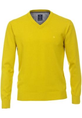 Redmond heren trui katoen V-hals, geel