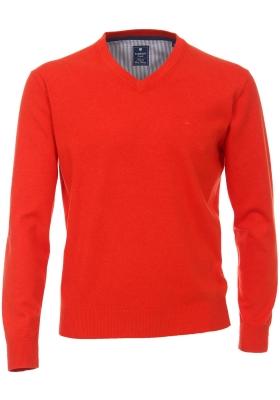 Redmond heren trui katoen V-hals, oranje-rood