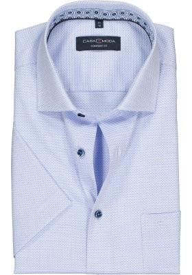 Casa Moda Comfort Fit overhemd, korte mouw, blauw structuur (contrast)