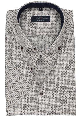Casa Moda Comfort Fit overhemd, korte mouw, blauw met kaki dessin (contrast)