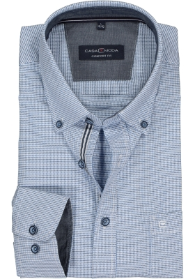 Casa Moda Sport Comfort Fit overhemd, blauw met wit en rood geruit (contrast)