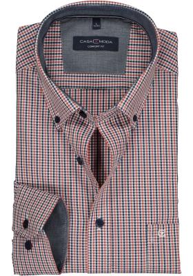 Casa Moda Sport Comfort Fit overhemd, oranje met blauw en wit geruit (contrast)