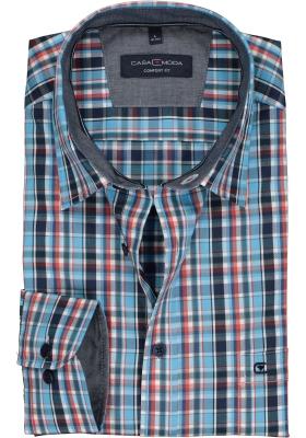 Casa Moda Sport Comfort Fit overhemd, turquoisen met rood, blauw en wit geruit (contrast)