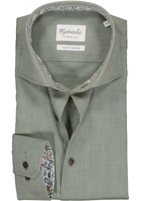 Michaelis Slim Fit overhemd, groen twill (contrast)