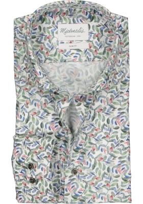 Michaelis Slim Fit overhemd, groen, blauw, rood en wit bladeren dessin