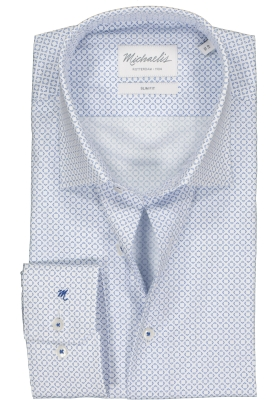 Michaelis Slim Fit overhemd, lichtblauw met wit dessin