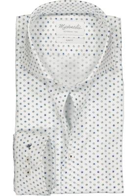 Michaelis Slim Fit overhemd, wit met groen en blauw balletjes dessin