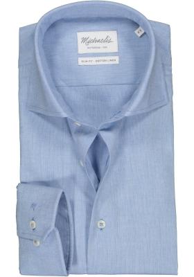 Michaelis Slim Fit overhemd, lichtblauw katoen/linnen