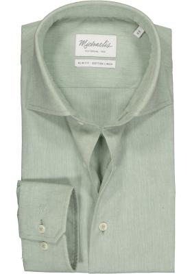 Michaelis Slim Fit overhemd, lichtgroen katoen/linnen