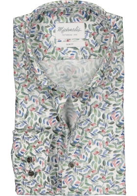 Michaelis Slim Fit overhemd, mouwlengte 7, groen, blauw, rood en wit bladeren dessin