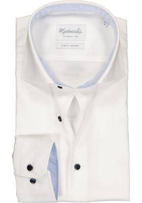 Michaelis Slim Fit overhemd, mouwlengte 7, wit twill (contrast)