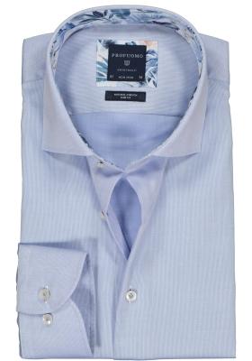 Profuomo Slim Fit  overhemd, lichtblauw structuur (contrast)