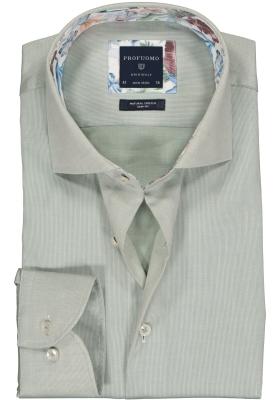 Profuomo Slim Fit  overhemd, lichtgroen structuur (contrast)