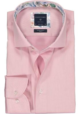 Profuomo Slim Fit  overhemd, lichtroze structuur (contrast)