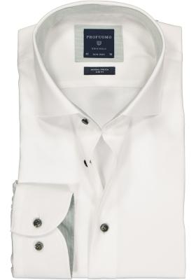 Profuomo Slim Fit  overhemd, wit structuur (contrast)