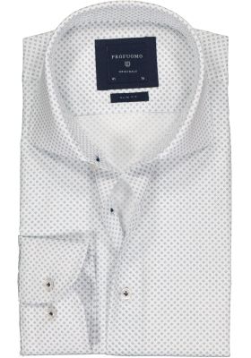 Profuomo Slim Fit  overhemd, wit met blauw dessin Oxford