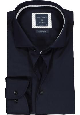 Profuomo Slim Fit  overhemd, donkerblauw twill (contrast)