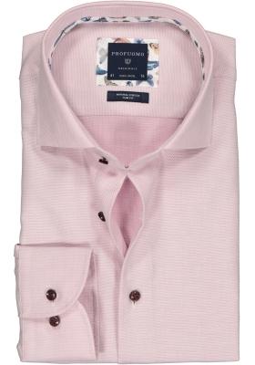 Profuomo Slim Fit  overhemd, roze structuur (contrast)