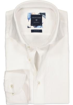 Profuomo Slim Fit  overhemd, wit linnen/katoen Oxford