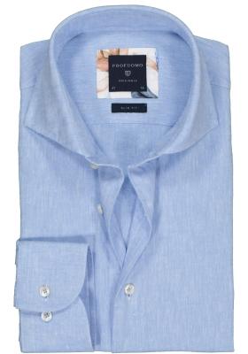 Profuomo Slim Fit  overhemd, lichtblauw linnen/katoen Oxford