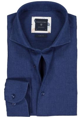 Profuomo Slim Fit  overhemd, blauw linnen/katoen Oxford