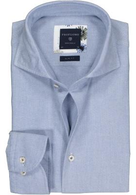 Profuomo Slim Fit  overhemd, lichtblauw Oxford soft