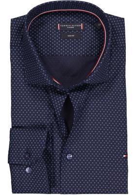 Tommy Hilfiger Slim Fit overhemd, donkerblauw met lichtblauwe stipjes