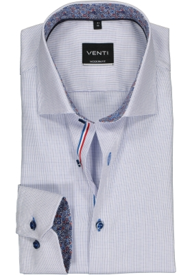 Venti Modern Fit overhemd, blauw met wit mini dessin structuur (contrast)