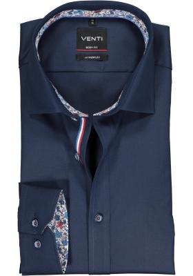 VENTI body fit overhemd, super stretch, donkerblauw twill (contrast)