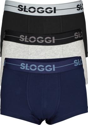 Sloggi Men GO Hipster, heren boxers (3-pack), zwart, blauw, grijs