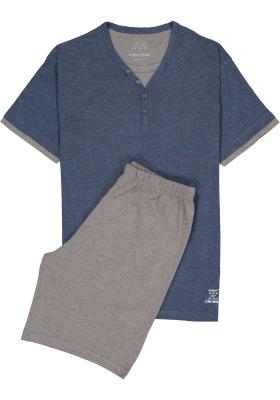 Ceceba heren shortama, blauw met grijs