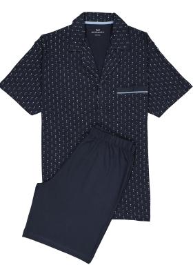 Gotzburg heren shortama met knopen, blauw met lichtblauw en wit dessin