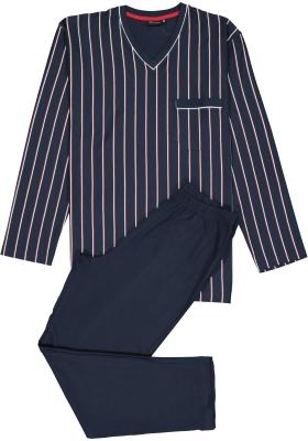 Gotzburg heren pyjama, blauw met wit  en rood gestreept